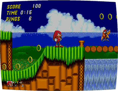 Screenshot of Knuckles in Sonic the Hedgehog 2