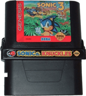 Photo of Sonic & Knuckles cartridge with Sonic the Hedgehog 3 attached