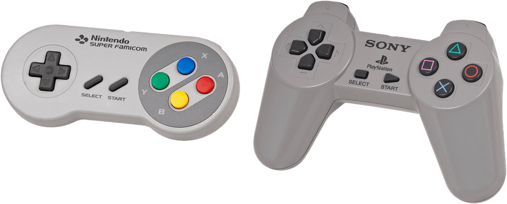 Super Famicom and Sony PlayStation controllers